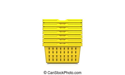 Yellow Shopping Baskets On White Background. 3D render...