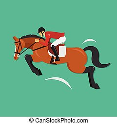 Show Jumping Horse with jockey - Vector illustration concept...