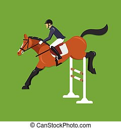 Horse Jumping Over Fence - Vector illustration concept of...