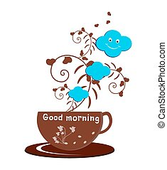 Good Morning - A cup of coffee with text good morning and...