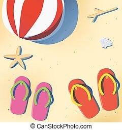 Summer beach with sandal and beach ball - Summer beach with...