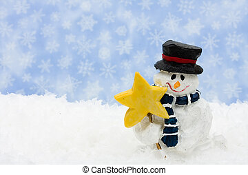 Happy Holidays - A snowman sitting on snow with a snowflake...