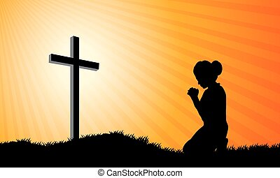 Prayer  - Silhouette of a woman praying under the cross