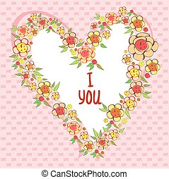Abstract bright flowers in heart shape, stylized flowers