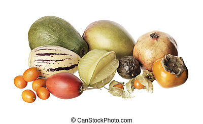 Exotic fruit - Various exotic fruit isolated on white....