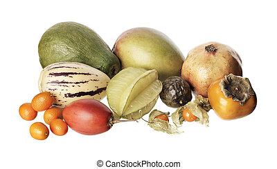 Exotic fruit - Various exotic fruit isolated on white....