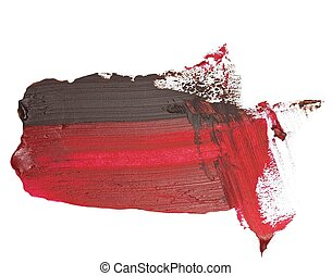 photo black red grunge brush strokes oil paint isolated on...