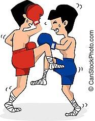 Thai Boxing. - Thai Boxing Illustration.