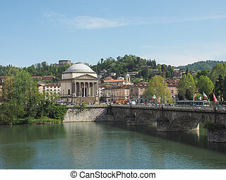 River Po Turin - Po River and Gran Madre church in Turin...