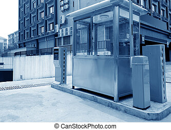 Underground parking toll booths - Tollbooth in underground...