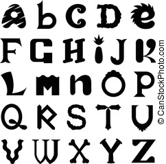 Funky set of silhouette alphabet letters - Funky set of...