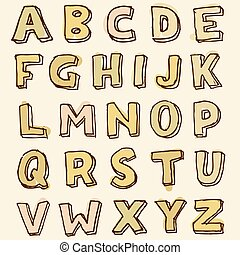 Complete set of stained alphabet letters - Complete a-z set...