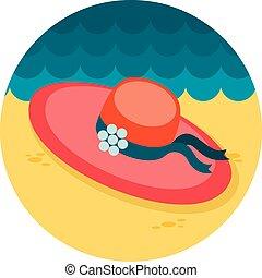 Beach hat flat icon, vector illustration eps 10