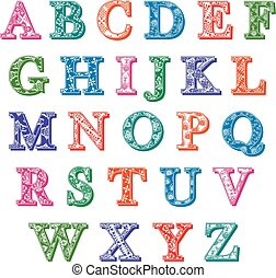 Complete set colorful patterned alphabet letters - Complete...