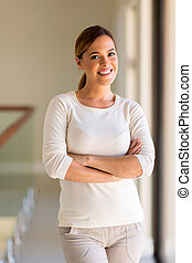 young woman with arms crossed - beautiful young woman with...