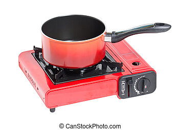 Non-Stick Pot on Portable Gas Stove Isolated on White.