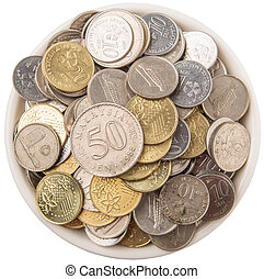 Coins In Bowl - Malaysian coins in a white bowl over white...