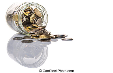 Coins In Mason Jar - Malaysian coins in a mason jar over...