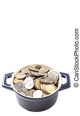 Malaysian Coins - Malaysian coins in a blue pot over white...