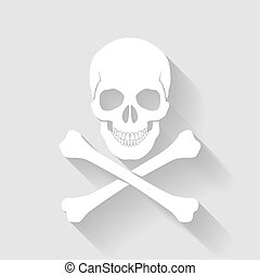 Skull and cross-bones - White skull and cross-bones on gray...