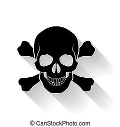 Skull and cross-bones - Black skull and cross-bones on white...