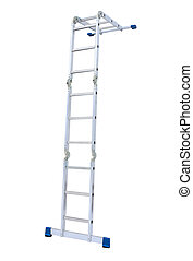 metal step-ladder isolated - Aluminum metal step-ladder...