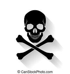 Skull and cross-bones - Black skull and cross-bones on white...