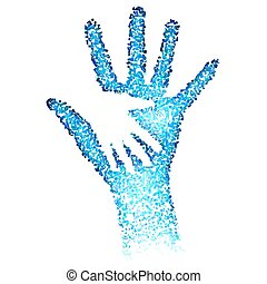 Helping Hands Abstract illustration in blue color