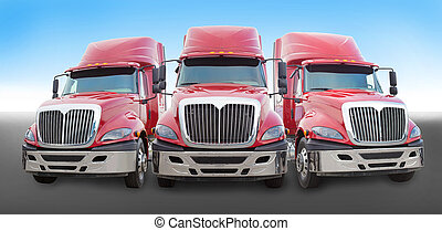 red truck on the road - Three large red truck on the road