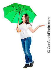 woman with green umbrella checks whether there is rain