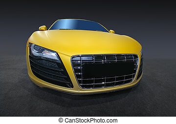 sports car - beautiful modern yellow sports car