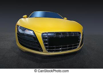 sports car - beautiful modern yellow sports car