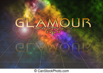 word glamour on abstract colour lightning background