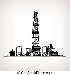Silhouette Drilling Rig, Oil Rig, Machine which Creates...
