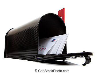 An open black mailbox with letters on white - An open black...