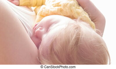 Close-up of sleeping beauty - Sunny love. Close-up of baby...