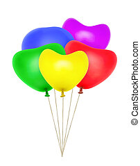 Heart shaped balloons isolated on white background