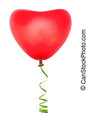 Heart shaped balloon and streamer isolated on white...