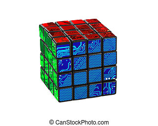 Cube puzzle - Technology puzzle isolated on white background