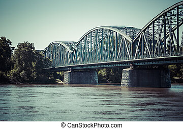 Poland - Torun famous truss bridge over Vistula river...