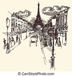 Streets Paris France Vintage Engraved Hand Drawn - Streets...