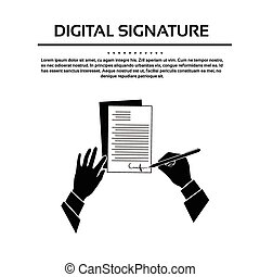 Business Man Document Signature Black Hands Silhouette...