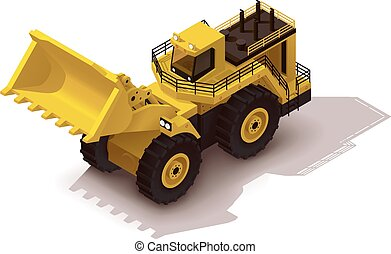 Vector isometric mining wheel loader
