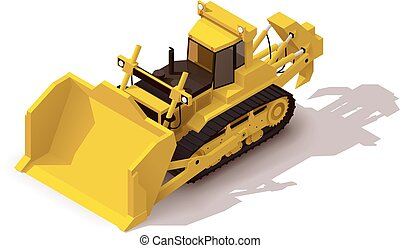 Vector isometric mining bulldozer - Isometric icon...