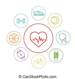 Heart Sport Fitness App Icons Set Thin Line Simple Colorful