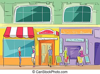 Shopping Mall Building Exterior Store People Walking Shop...