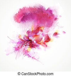 pink floral - Abstract background with flower and design...