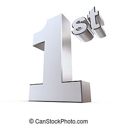 Shiny 1st - Chrome - shiny 3d number 1st made of...