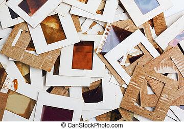 Conjunto, de, viejo, resbaladeros, fotos, y,...