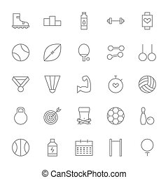 Line Sport and Fitness Big Icons Set. Vector Set of Healthy...